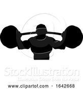 Vector Illustration of Silhouette Guy Weight Lifter Body Builder Barbell by AtStockIllustration