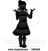 Vector Illustration of Silhouette Kid Child in Winter Christmas Clothing by AtStockIllustration