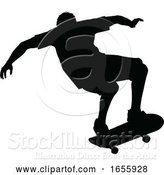 Vector Illustration of Silhouette Skater Skateboarder by AtStockIllustration