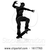 Vector Illustration of Silhouette Skater Skateboarder, on a White Background by AtStockIllustration