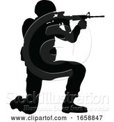Vector Illustration of Silhouette Soldier by AtStockIllustration