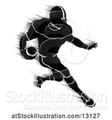 Vector Illustration of Silhouetted Action Blurred Black and White Football Player Charging by AtStockIllustration