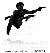 Vector Illustration of Silhouetted Actor or Action Hero Shooting, with a Reflection or Shadow, on a White Background by AtStockIllustration