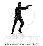 Vector Illustration of Silhouetted Actor or Shooter, with a Reflection or Shadow, on a White Background by AtStockIllustration
