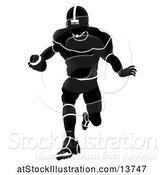 Vector Illustration of Silhouetted American Football Player Charging by AtStockIllustration