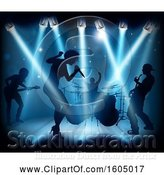 Vector Illustration of Silhouetted Band in Action on Stage in Blue Lighting by AtStockIllustration