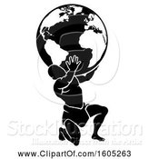 Vector Illustration of Silhouetted Black and White Atlas Titan Guy Carrying a Globe by AtStockIllustration
