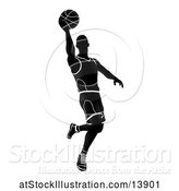 Vector Illustration of Silhouetted Black and White Basketball Player by AtStockIllustration