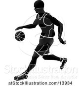 Vector Illustration of Silhouetted Black and White Basketball Player Dribbling by AtStockIllustration