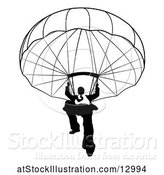 Vector Illustration of Silhouetted Black and White Businessman Parachuting by AtStockIllustration