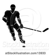 Vector Illustration of Silhouetted Black and White Ice Hockey Player by AtStockIllustration