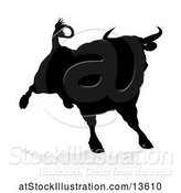 Vector Illustration of Silhouetted Black Bull, with a Shadow on a White Background by AtStockIllustration