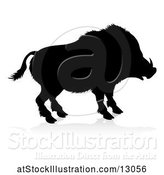 Vector Illustration of Silhouetted Boar, with a Reflection or Shadow, on a White Background by AtStockIllustration