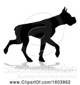 Vector Illustration of Silhouetted Boxer Dog, with a Reflection or Shadow, on a White Background by AtStockIllustration