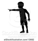 Vector Illustration of Silhouetted Boy Pointing with a Reflection or Shadow, on a White Background by AtStockIllustration
