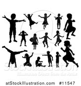 Vector Illustration of Silhouetted Boys and Girls Playing by AtStockIllustration