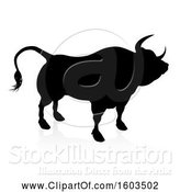 Vector Illustration of Silhouetted Bull, with a Reflection or Shadow, on a White Background by AtStockIllustration