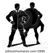 Vector Illustration of Silhouetted Business Man Standing with Folded Arms and a Super Hero Shadow by AtStockIllustration