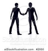 Vector Illustration of Silhouetted Business Men Engaged in a Hand Shake with Reflections by AtStockIllustration