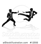 Vector Illustration of Silhouetted Business Men Kung Fu Fighting by AtStockIllustration