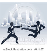 Vector Illustration of Silhouetted Business Men Kung Fu Fighting over a City by AtStockIllustration