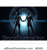 Vector Illustration of Silhouetted Business Men Shaking Hands over a Glowing Blue Key Hole on Black by AtStockIllustration