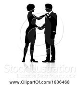 Vector Illustration of Silhouetted Businessman and Lady Shaking Hands, with a Reflection or Shadow by AtStockIllustration