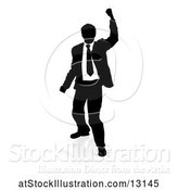 Vector Illustration of Silhouetted Businessman Cheering, with a Reflection or Shadow, on a White Background by AtStockIllustration