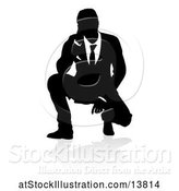 Vector Illustration of Silhouetted Businessman Crouching, with a Reflection or Shadow by AtStockIllustration