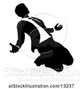 Vector Illustration of Silhouetted Businessman Kneeling and Worshiping, with a Shadow on a White Background by AtStockIllustration