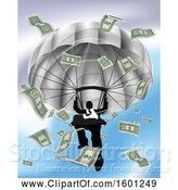 Vector Illustration of Silhouetted Businessman Parachuting, with Cash Money by AtStockIllustration
