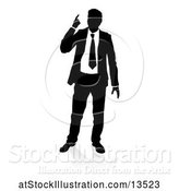 Vector Illustration of Silhouetted Businessman Pointing Up, with a Reflection or Shadow by AtStockIllustration