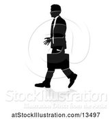 Vector Illustration of Silhouetted Businessman Walking, with a Reflection or Shadow by AtStockIllustration