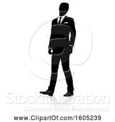 Vector Illustration of Silhouetted Businessman, with a Reflection or Shadow, on a White Background by AtStockIllustration