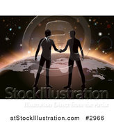 Vector Illustration of Silhouetted Businessmen Shaking Hands on Earth by AtStockIllustration