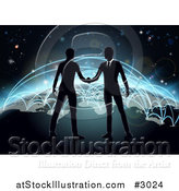 Vector Illustration of Silhouetted Businessmen Shaking Hands on Earth with Blue Glowing Routes by AtStockIllustration