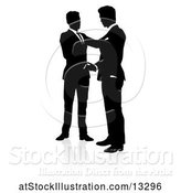 Vector Illustration of Silhouetted Businessmen Shaking Hands, with a Shadow on a White Background by AtStockIllustration