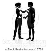Vector Illustration of Silhouetted Businesswomen Shaking Hands, with a Shadow on a White Background by AtStockIllustration