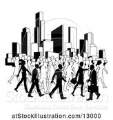 Vector Illustration of Silhouetted Busy City with Businessmen and Women by AtStockIllustration