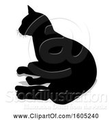 Vector Illustration of Silhouetted Cat, with a Shadow or Reflection, on a White Background by AtStockIllustration