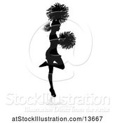 Vector Illustration of Silhouetted Cheerleader Jumping, with a Reflection or Shadow by AtStockIllustration
