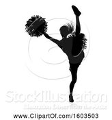 Vector Illustration of Silhouetted Cheerleader, with a Reflection or Shadow, on a White Background by AtStockIllustration