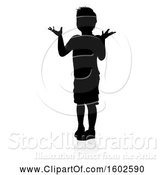 Vector Illustration of Silhouetted Child Shrugging, with a Shadow, on a White Background by AtStockIllustration