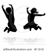 Vector Illustration of Silhouetted Children Jumping, with Shadows by AtStockIllustration