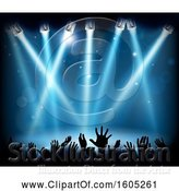 Vector Illustration of Silhouetted Concert Against a Stage with Blue Lighting by AtStockIllustration
