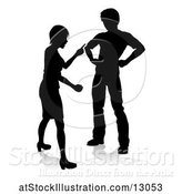 Vector Illustration of Silhouetted Couple Fighting, with a Reflection or Shadow, on a White Background by AtStockIllustration