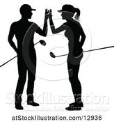 Vector Illustration of Silhouetted Couple Golfing by AtStockIllustration