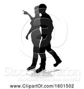 Vector Illustration of Silhouetted Couple, with a Reflection or Shadow, on a White Background by AtStockIllustration