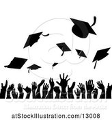 Vector Illustration of Silhouetted Crowd of Graduate Hands Throwing Their Graduation Caps by AtStockIllustration