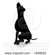 Vector Illustration of Silhouetted Dog, with a Reflection or Shadow, on a White Background by AtStockIllustration